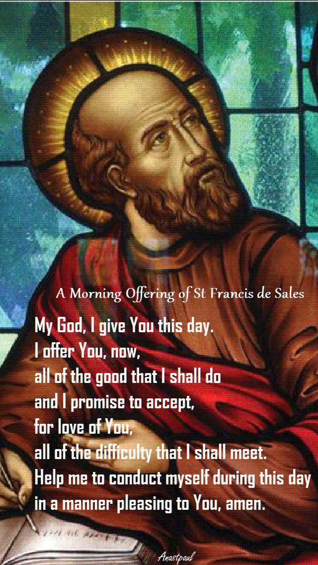 morning offering by st francis de sales
