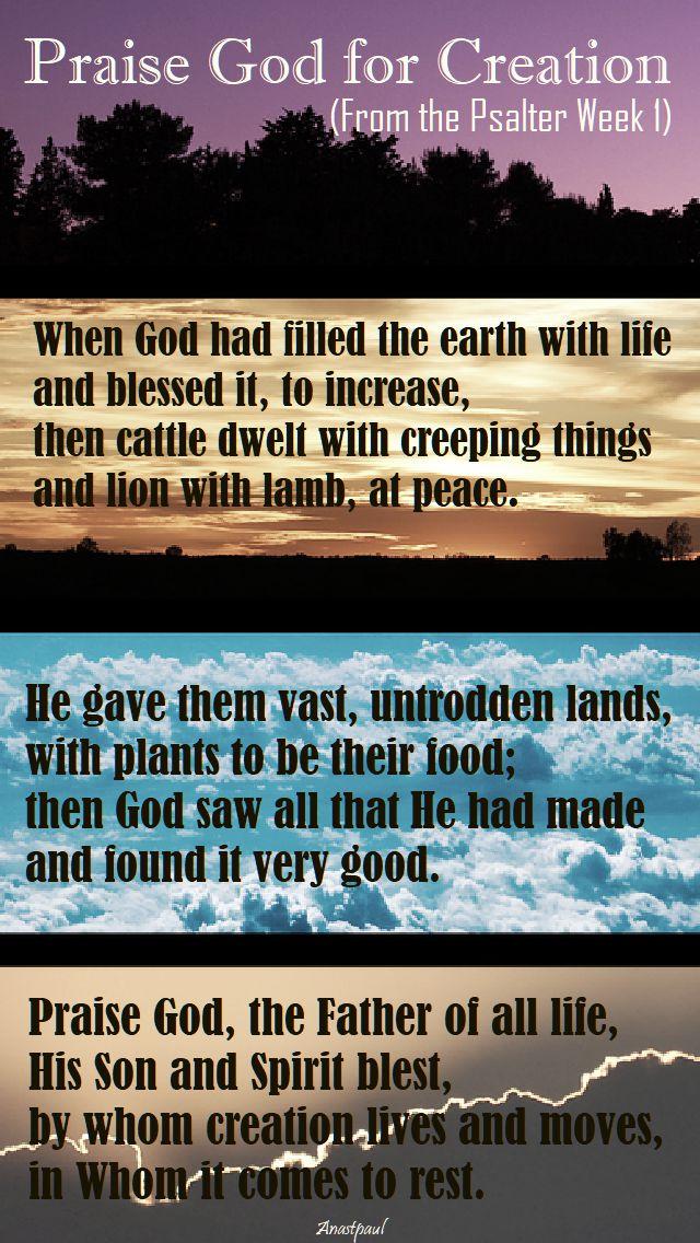 praise god for creation-psalter week 1 -thursday evening prayer-hymn