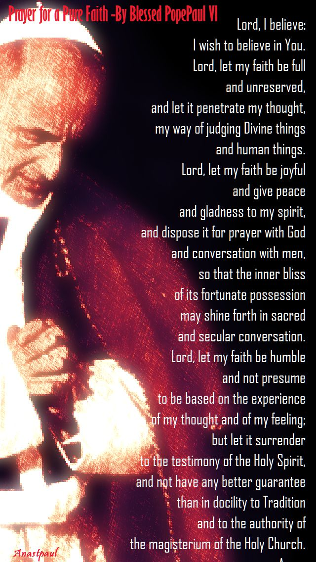prayer for a pure faith by blessed pope paul VI - on his memorial 26 sept 2017