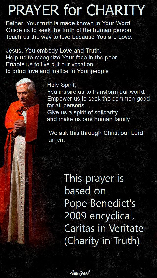 PRAYER FOR CHARITY - POPE BENEDICT