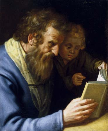 St. Matthew and an Angel, painting by Abraham Bloem