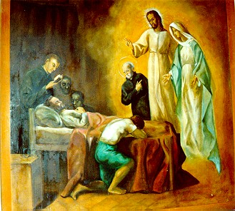 St Peter Claver sees Jesus Christ and the Virgin before death
