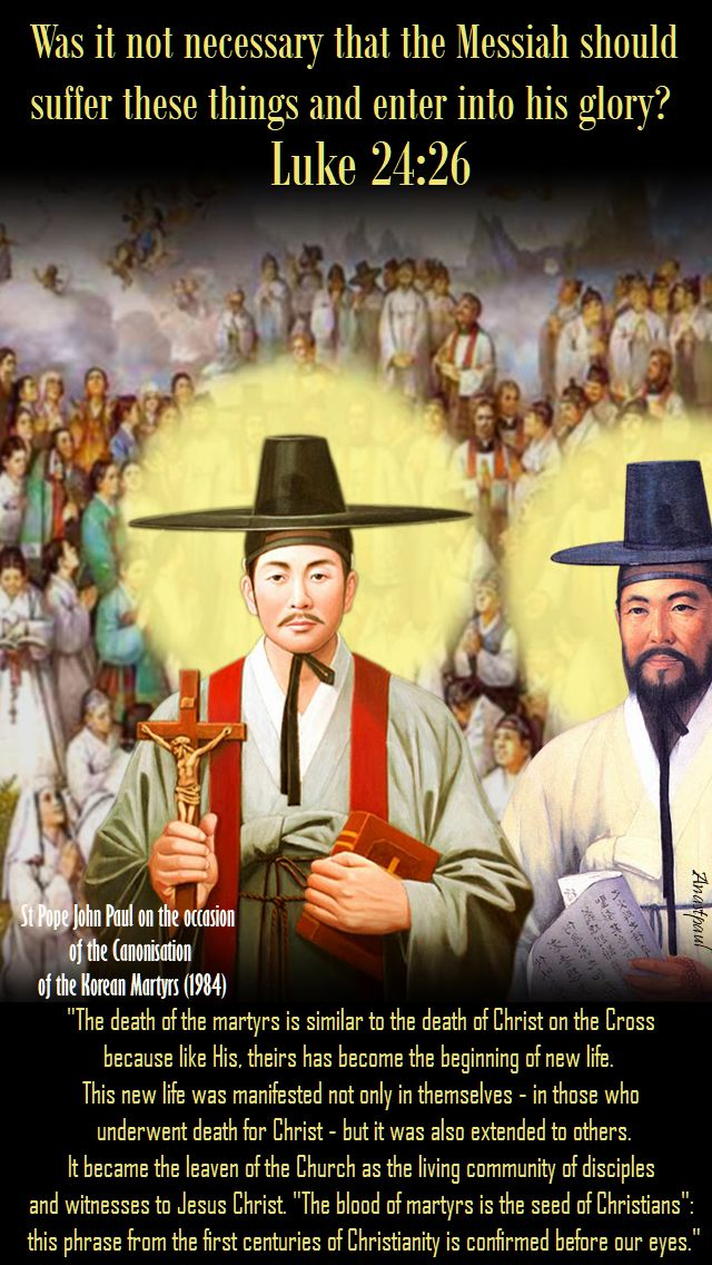 the death of the martyrs - st pope john paul on the canonisation korean martyrs