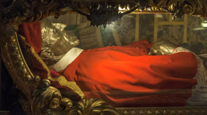 This is his relic, lying enshrined beneath an altar in the church of Sant' Ignazio in Rome.