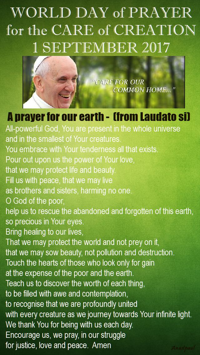 WORLD DAY OF PRAYER FOR THE CARE OF CREATION 1 SEPT 2017