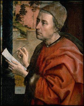 475px-Van_der_Weyden,_Saint_Luke_Drawing_the_Virgin,_Luke_detail