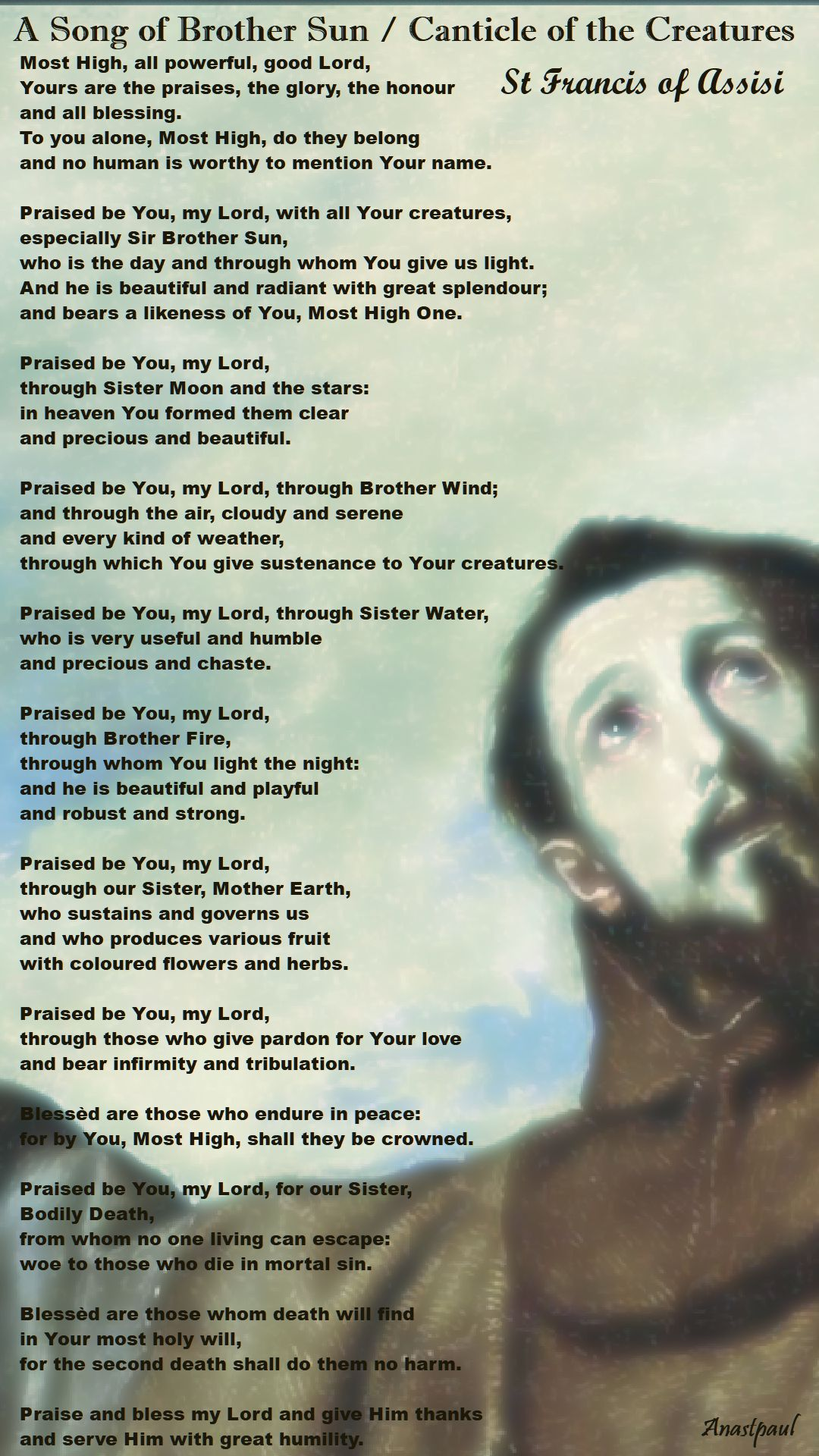 286d0cafef8 Saint Francis of Assisi s Song of Praise – AnaStpaul