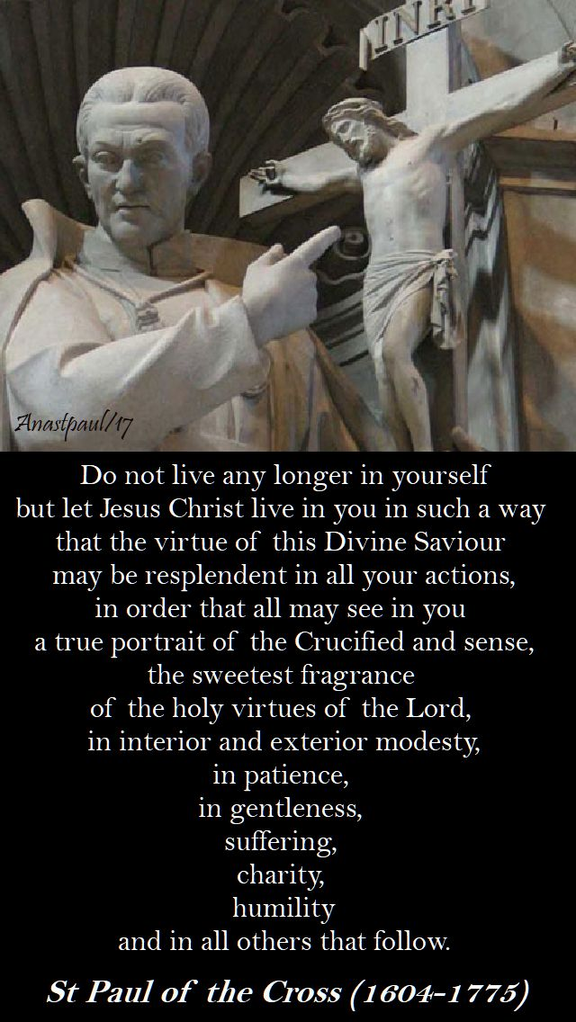 do not live - st paul of the cross - 19 oct 2017