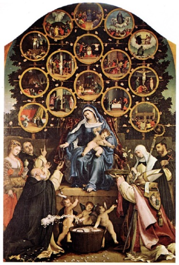 Madonna of the Rosary (with Mysteries of the Rosary) - by Lorenzo Lotto (1539)