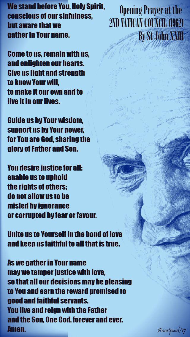 opening prayer at the second vatican council - st john 23 - 11 oct 2017