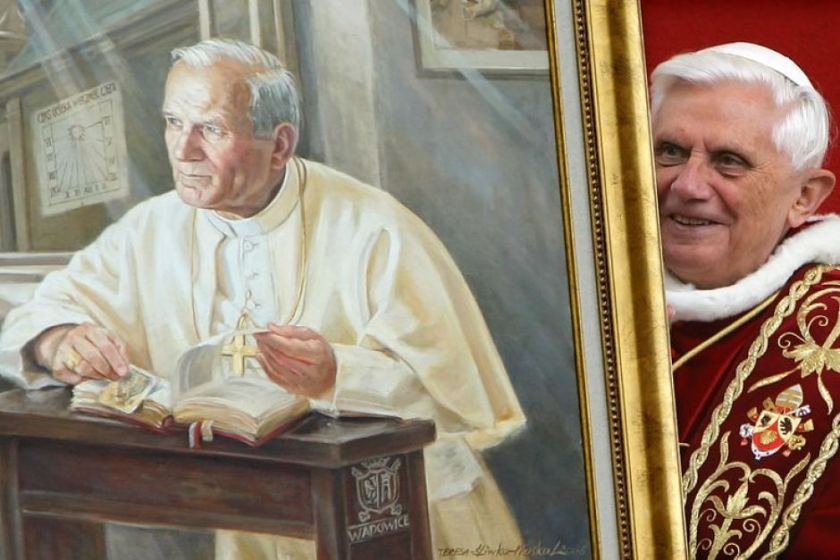 pope benedict holds a new portrait