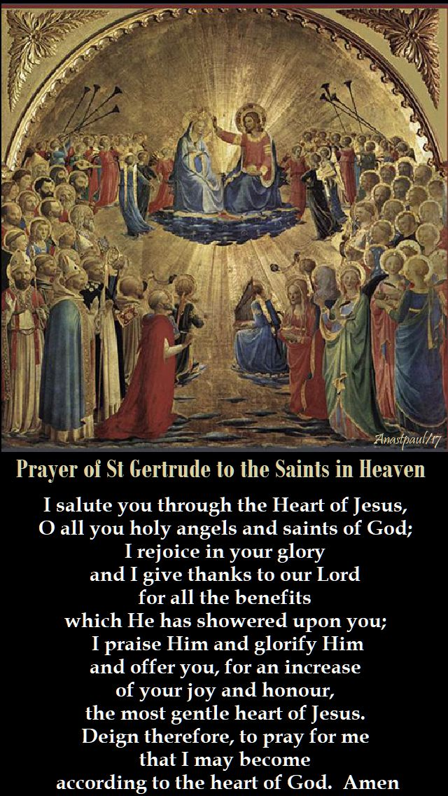 prayer of st gertrude to the saints in heaven - 1 nov 2017