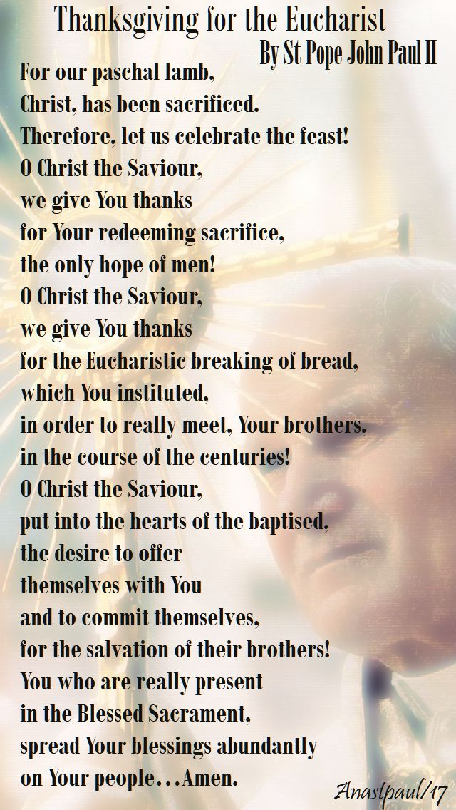 prayer of thanksgiving for the eucharist - st john paul - 22 oct 2017