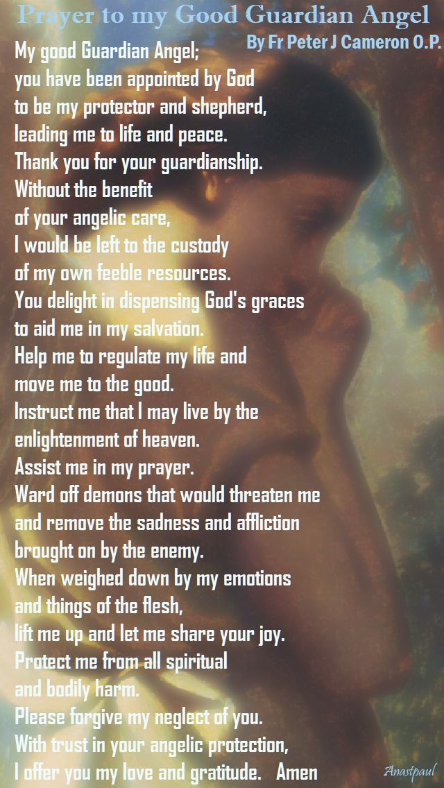 prayer to my good guardian angel - by for peter j cameron (my novenas book) 2 oct 2017