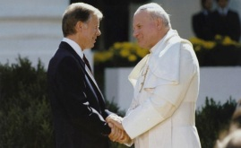 President Jimmy Carter with Pope John Paul II, photograph by Bill Fitz-Patrick, October 6, 1979. Pope John Paul II was the first pope to ever visit the White House. Courtesy National Archives, Jimmy Carter Presidential Library and Museum, Atlanta, Georgia.