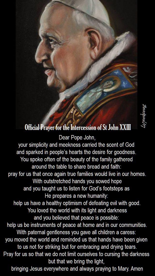 vatican prayer to st john 23 - 11 oct 2017