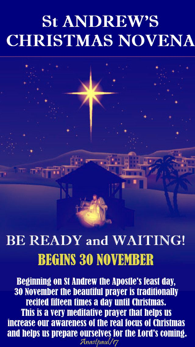 BE READY AND WAITING - ST ANDREW'S CHRISTMAS NOVENA begins 30 nov - 2017 pic