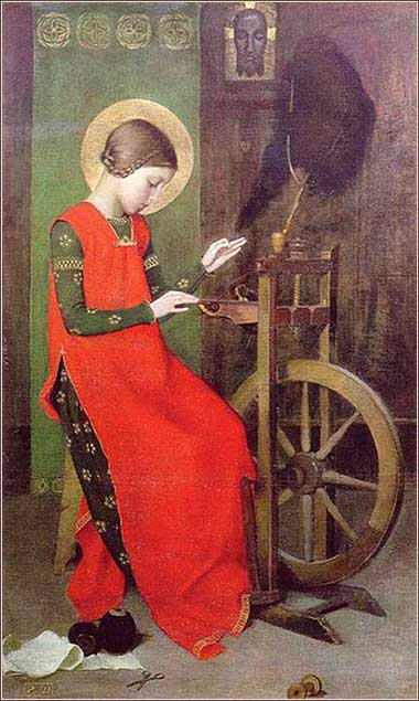 elizabeth-of-hungary-spinning-for-poor-marianne-stokes_1895