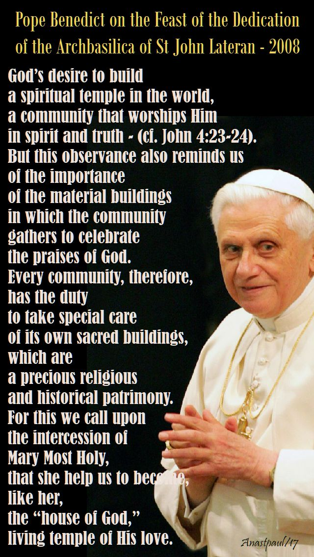 gods desire to build - pope benedict - 9 nov 2017