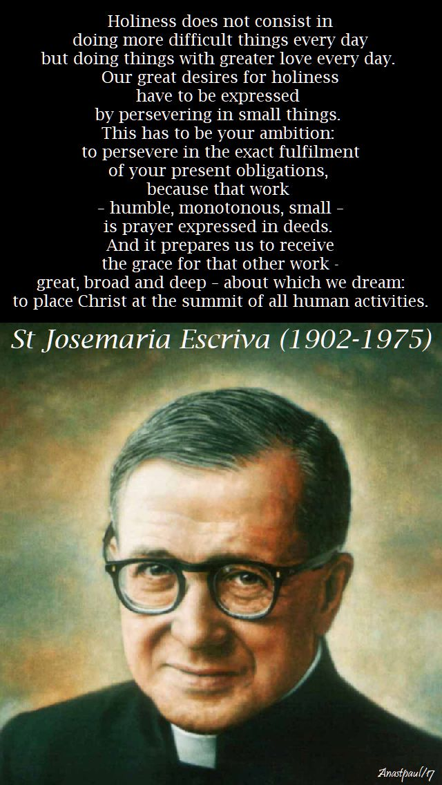 holiness does not consist - st josemaria - 7 nov 2017