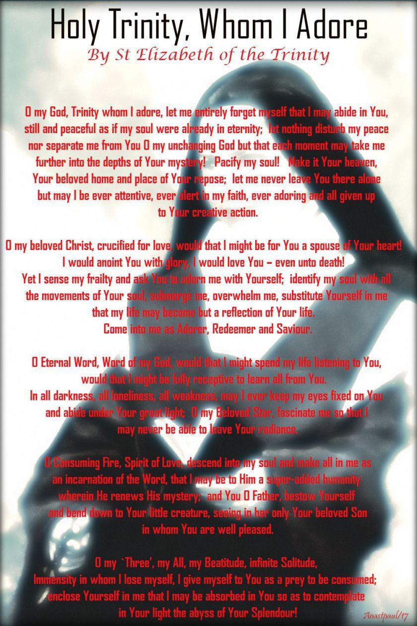 holy trinity whom I adore - st elizabeth of the trinity - 8 nov 2017