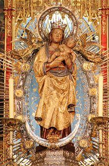 Original Virgin of Almudena statue on display at Almudena Cathedral