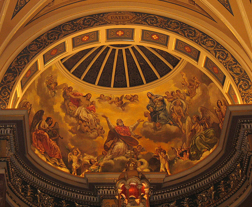 Our Lord and Our Lady receive St. Josaphat into Heaven.