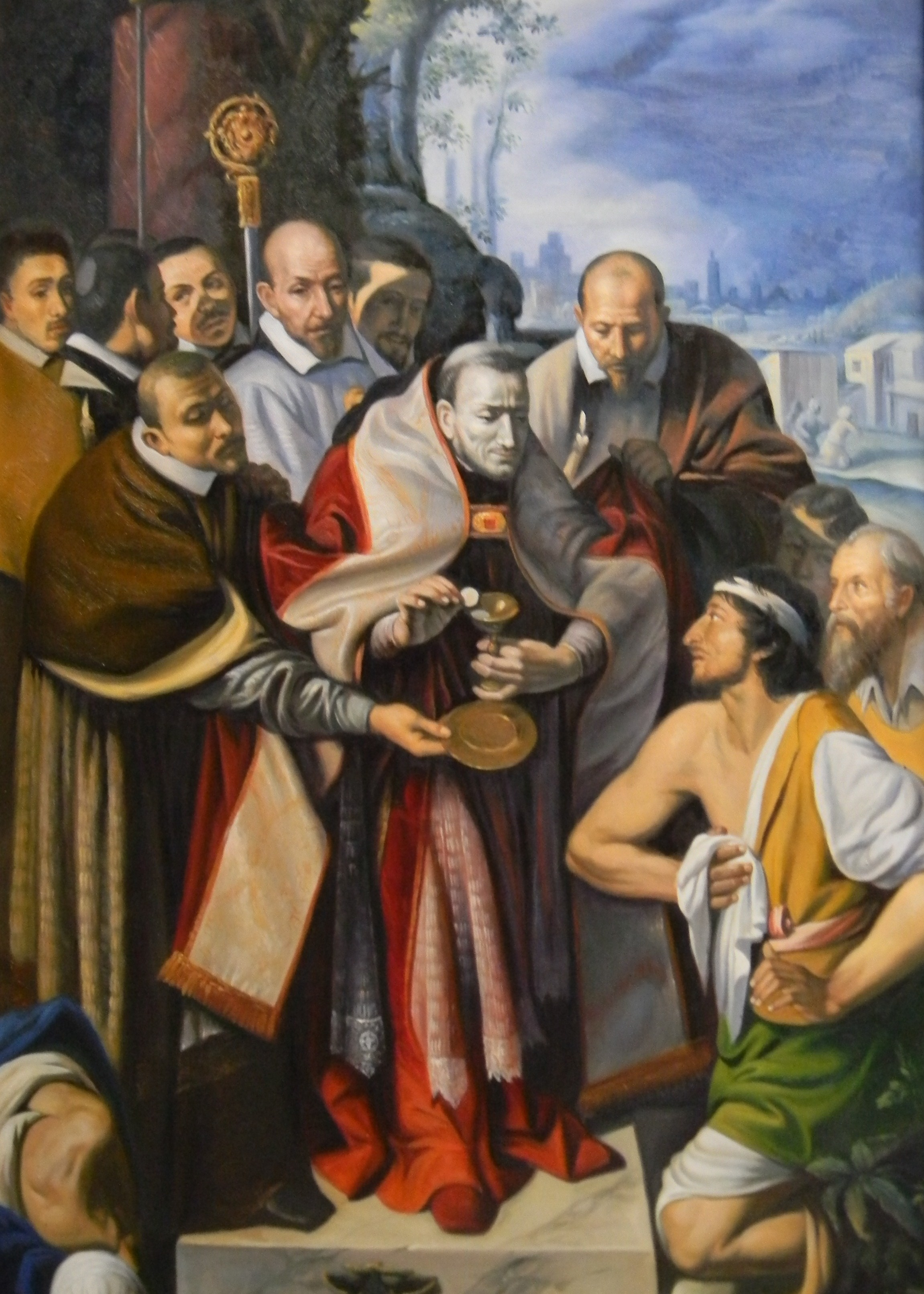 St Charles Borromeo giving Communion to plague victims