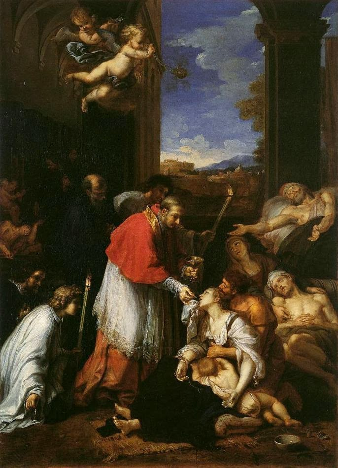 st charles Borromeo - Pierre Mignard - holy comm to plague victims