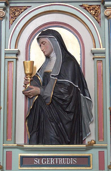 St Gertrude - Merazhofen_Pfarrkirche_Chorgestühl_links_Gertrud_von_Helfta