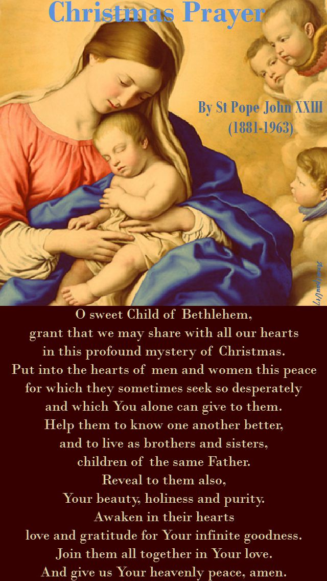 christmas prayer of st pope john XXIII - 2017