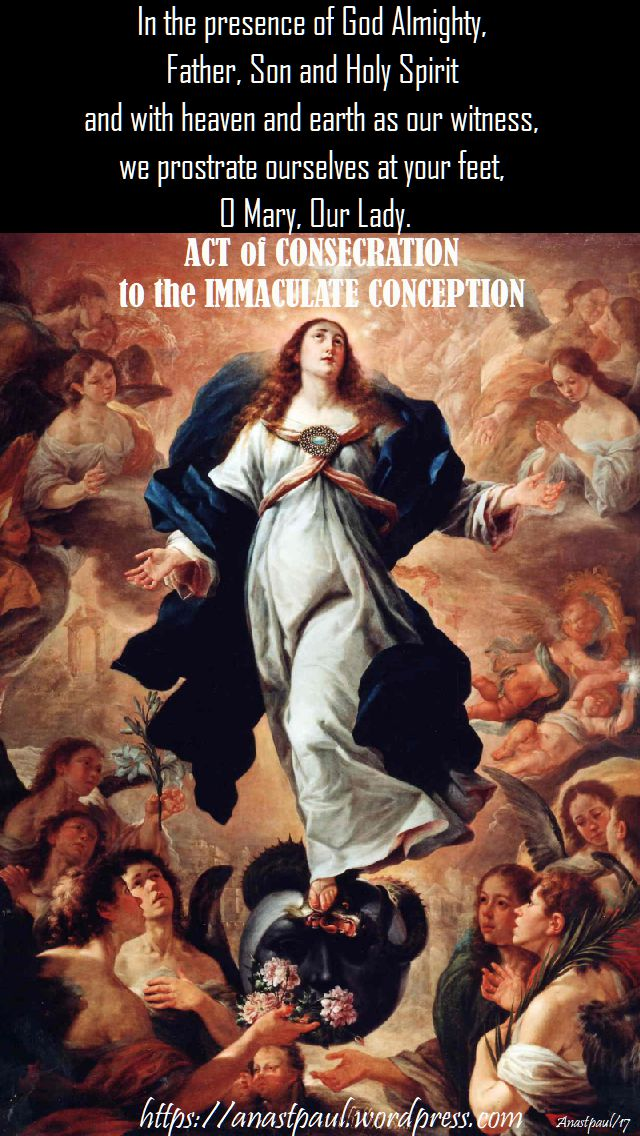 in the presence of god almight - act of consecration immaculate conception - 8 dec 2017