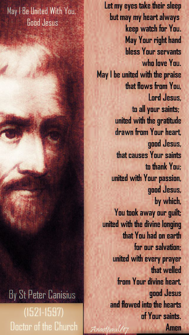 may I be united with you good jesus - st peter canisius sj