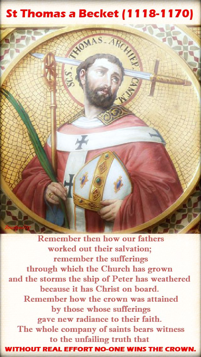 remember then how our fathers - st thomas a becket 29 dec 2017