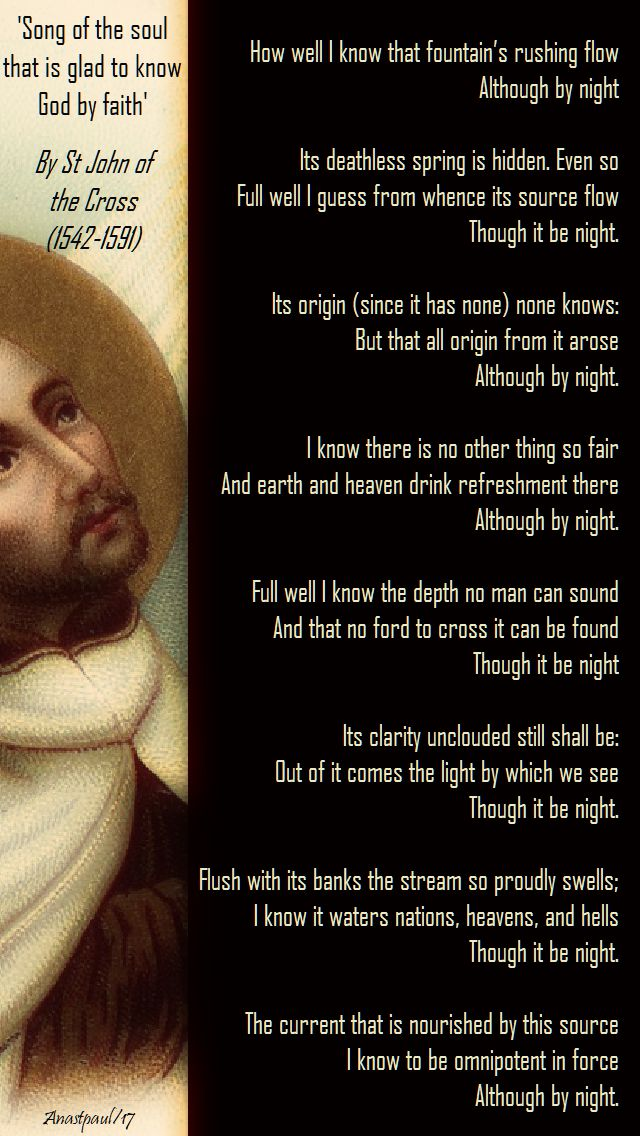 song of the soul that is glad to know god by faith - st j of the cross - 14 dec 2017