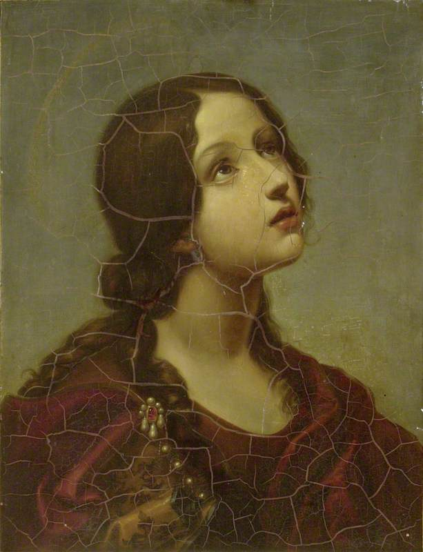 Dolci, Carlo, 1616-1686; Head of a young Saint (St Lucy?)