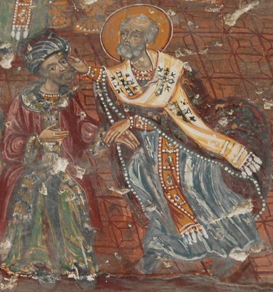 St Nicholas of Myra slapping Arius at the Council of Nicaea.