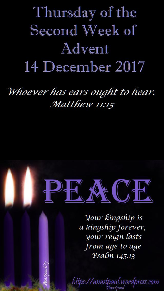 thursday of the second week advent - 14 dec 2017