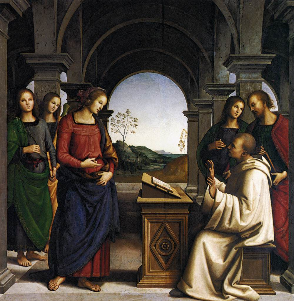 Vision of St. Bernard_Munich, AP_1493.Perugino, Virgin Appearing to St. Bernard Italian, 1493
