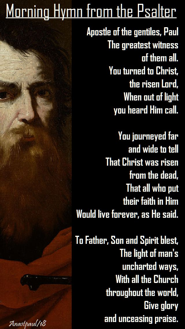 apostle of the gentiles paul - hymn from the psalter - 25 jan 2018