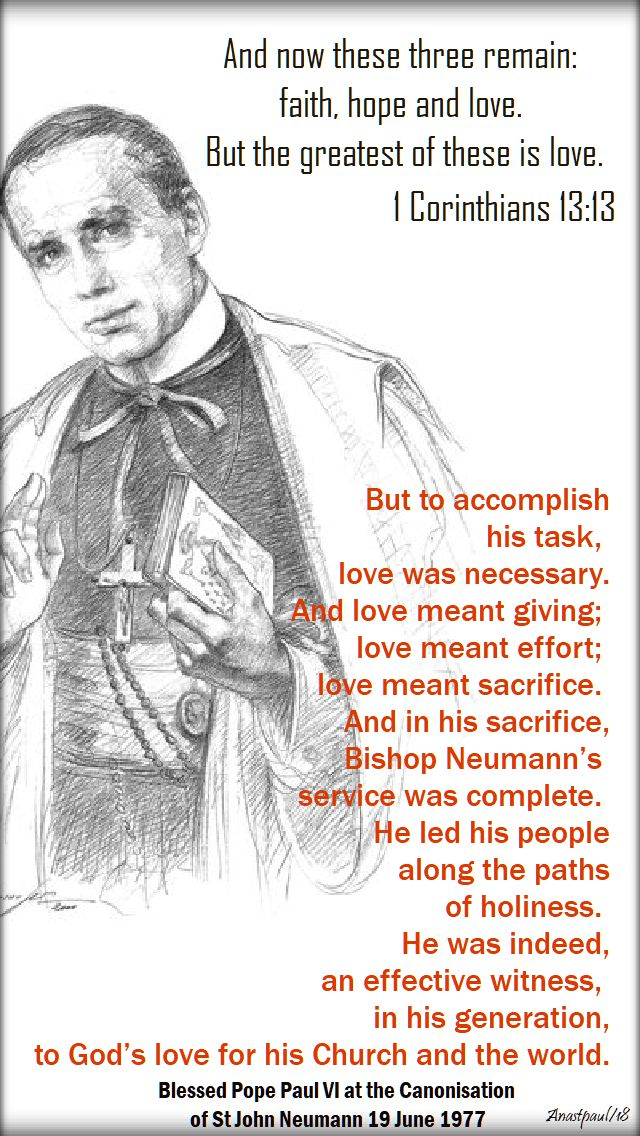 but to accomplish - bl pope paul VI on st john neumann - 5 jan 2018