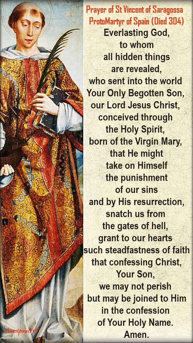 everlasting god to whom all hidden things - st vincent of saragossa - 22 jan 2018