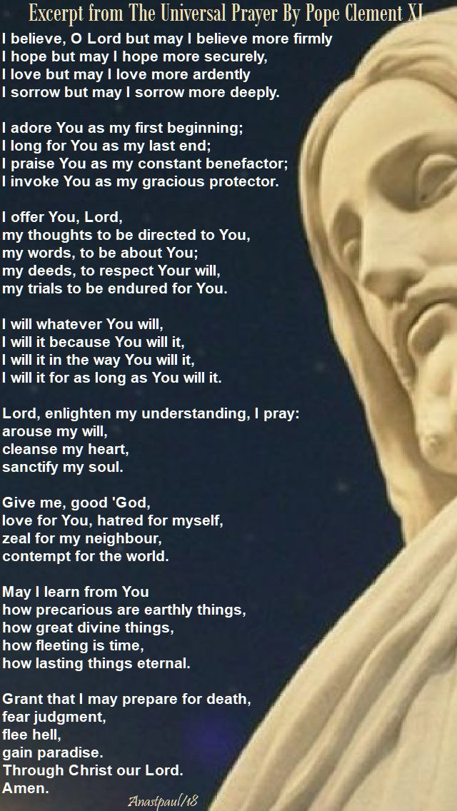 excerpt from the universal prayer - pope clement XI - 11 jan 2018