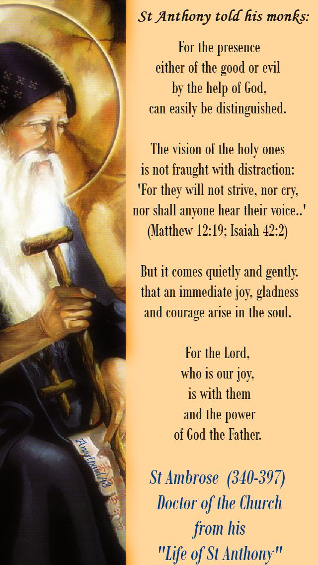 for the presence either of the good or evil - st anthony - 17 jan 2018