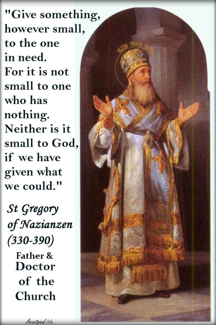 give-something however small - st gregory of nazianzen - 2016