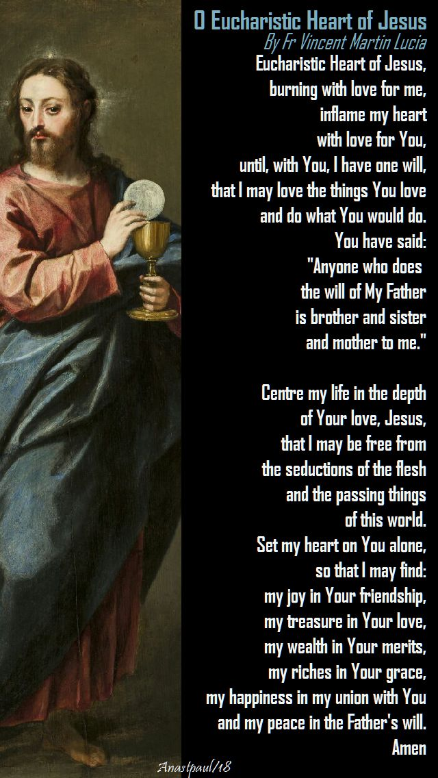 o eucharistic heart of jesus by fr vincent martin lucia - 19 jan 2018