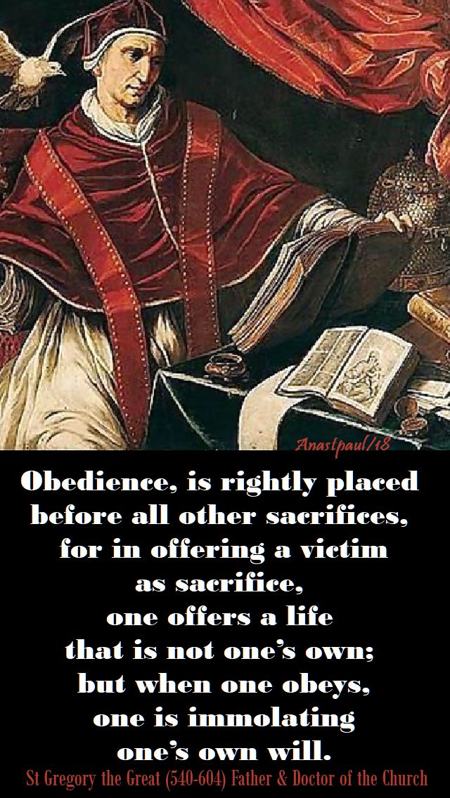 obedience is rightly - st gregory the great - 26 jan 2018
