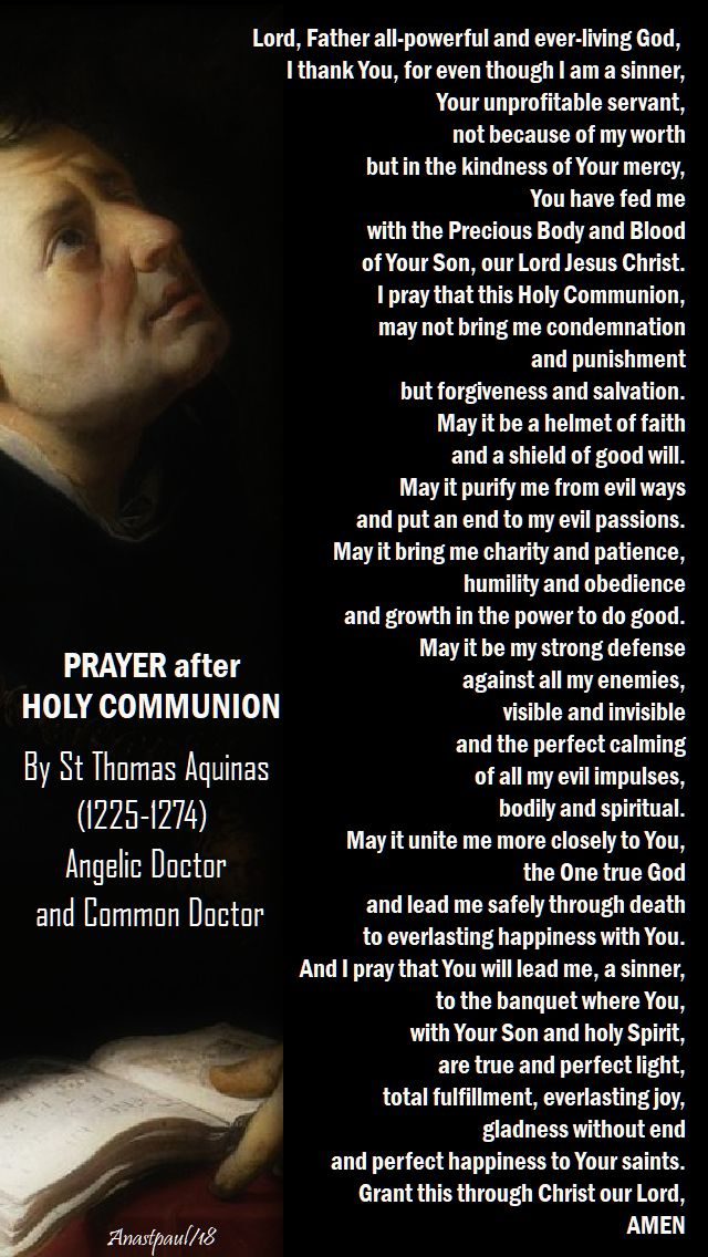 prayer after holy communion by st thomas aquinas - 28 jan 2018