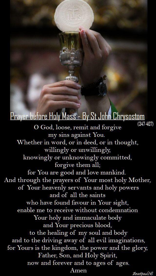 prayer before holy mass - st john chrysostom - 21 jan 2018
