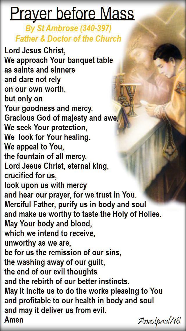 prayer before mass by st ambrose - 14 jan 2018